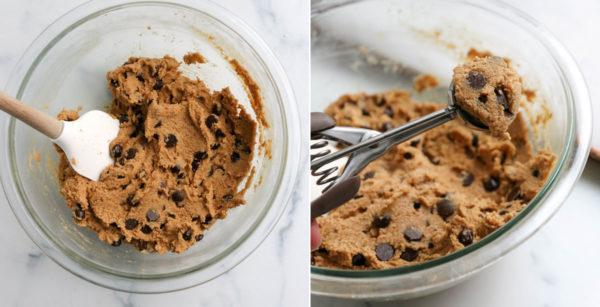 almond flour cookie dough scooped