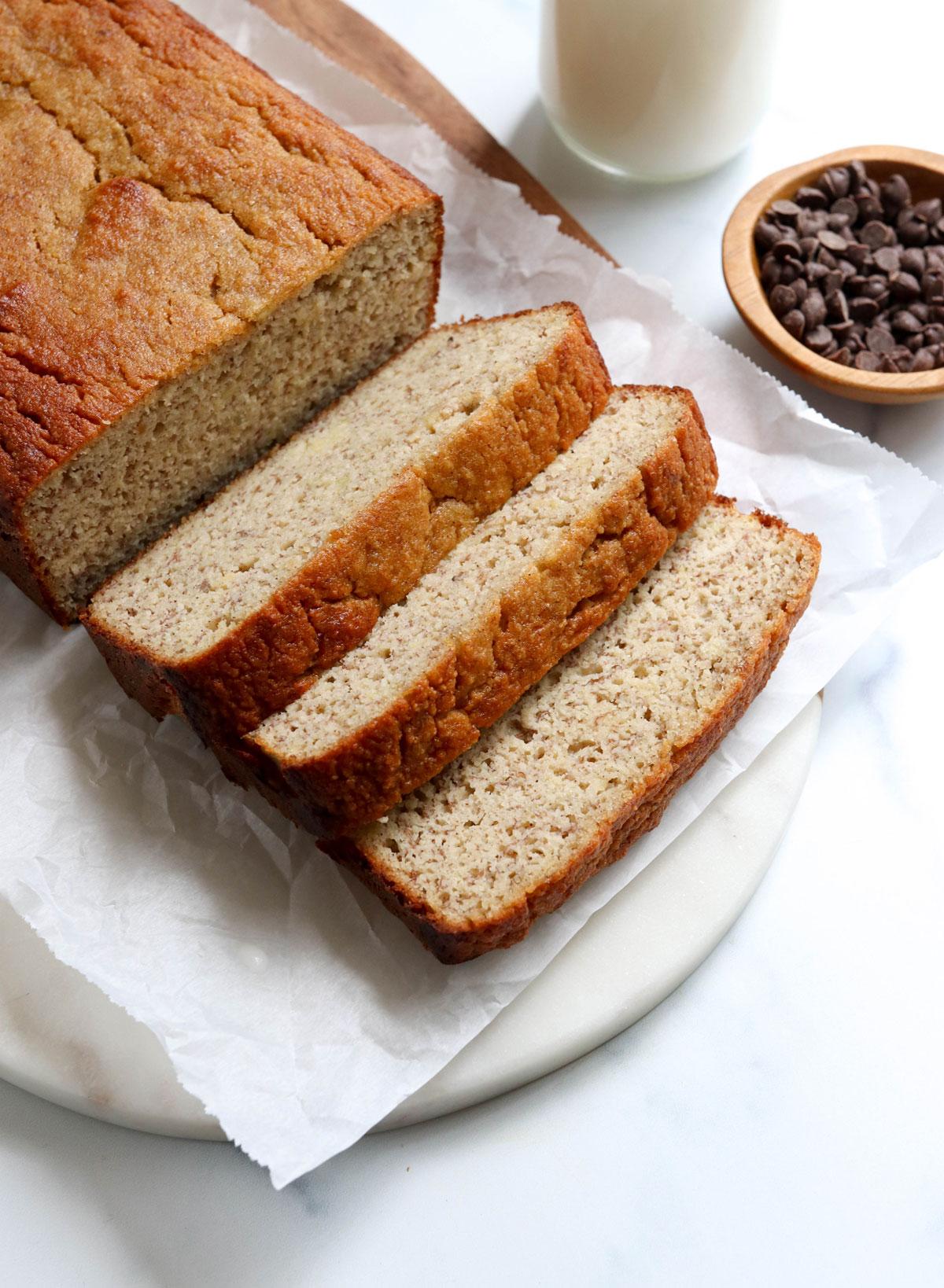 almond flour banana bread sliced on marble