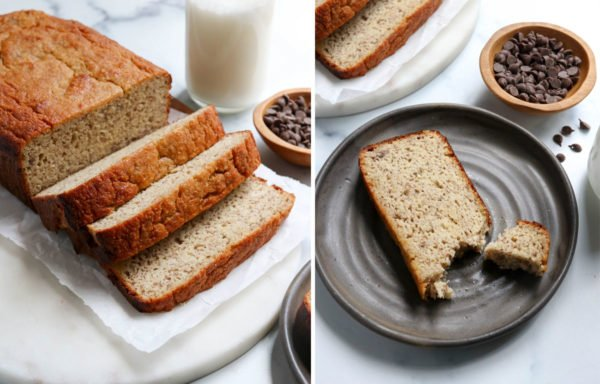 finished banana bread served on a dark plate