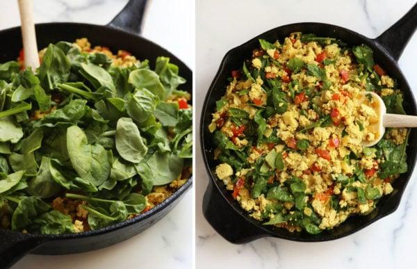 spinach added to tofu scramble