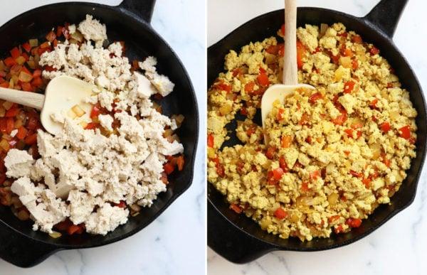 tofu crumbled into the pan