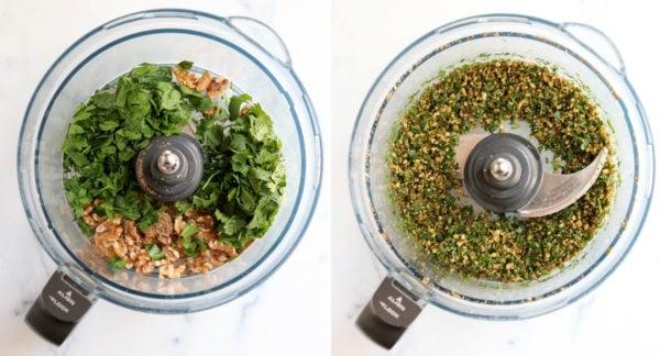 walnuts and herbs in food processor