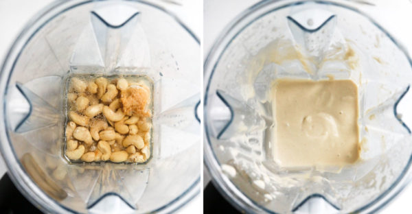cashew cream cheese ingredients in blender