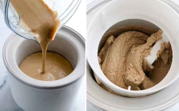 coffee ice cream poured into ice cream machine