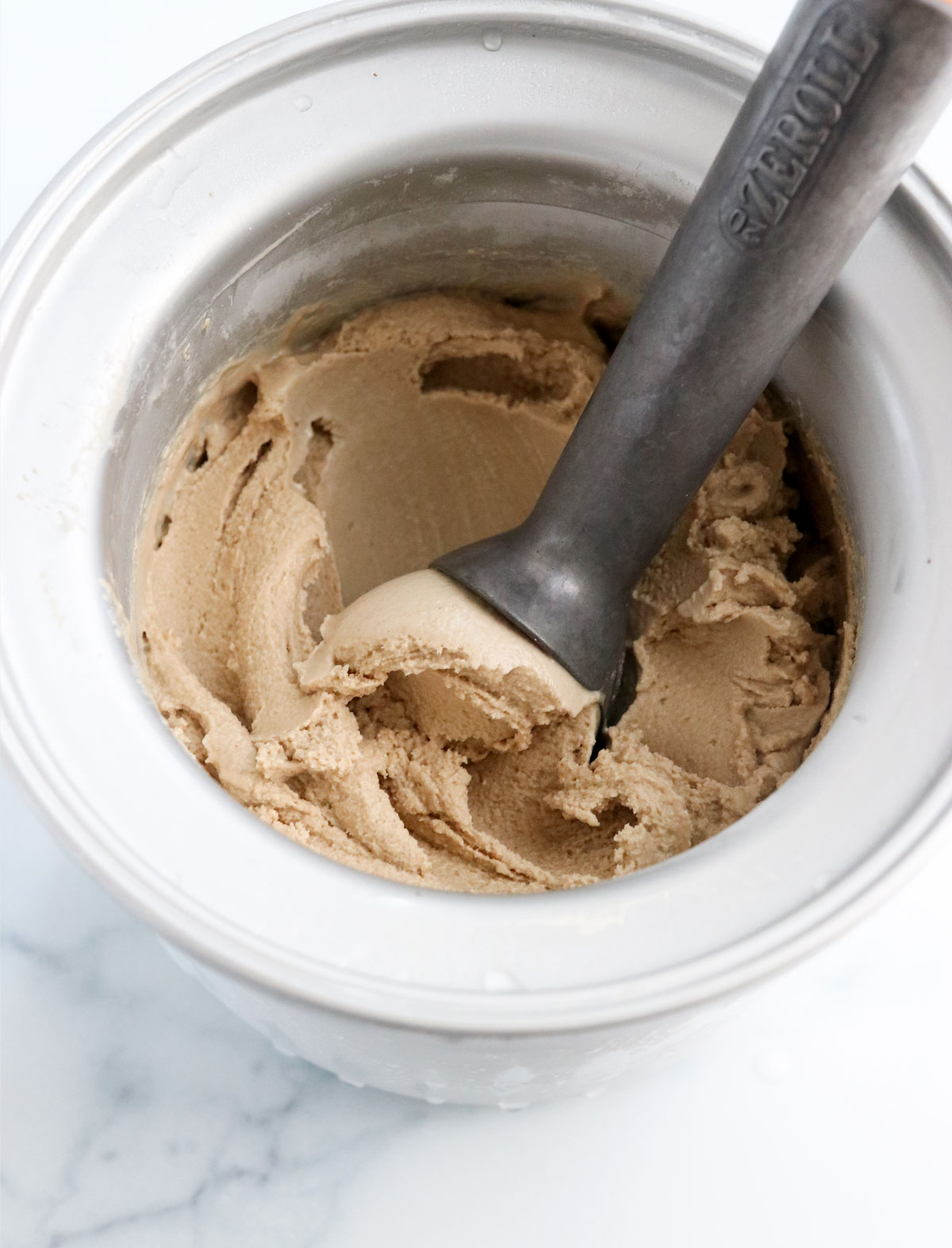 coffee ice cream ready to serve from the machine