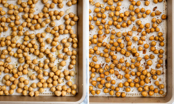 chickpeas tossed in olive oil and baked