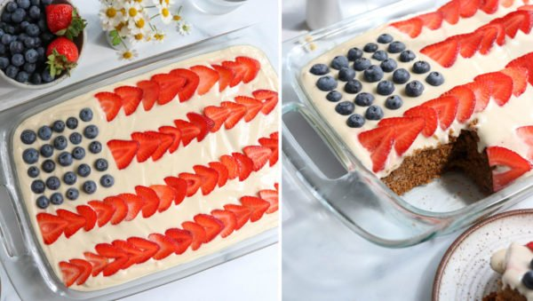 finished flag cake with slice removed