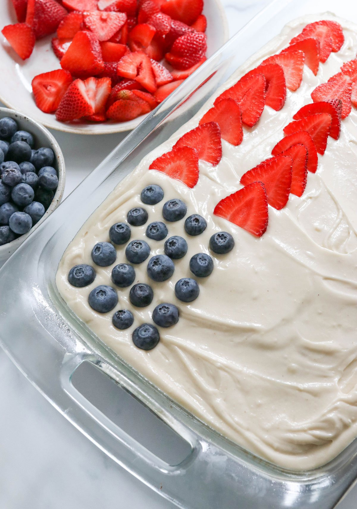 toppings added to flag cake