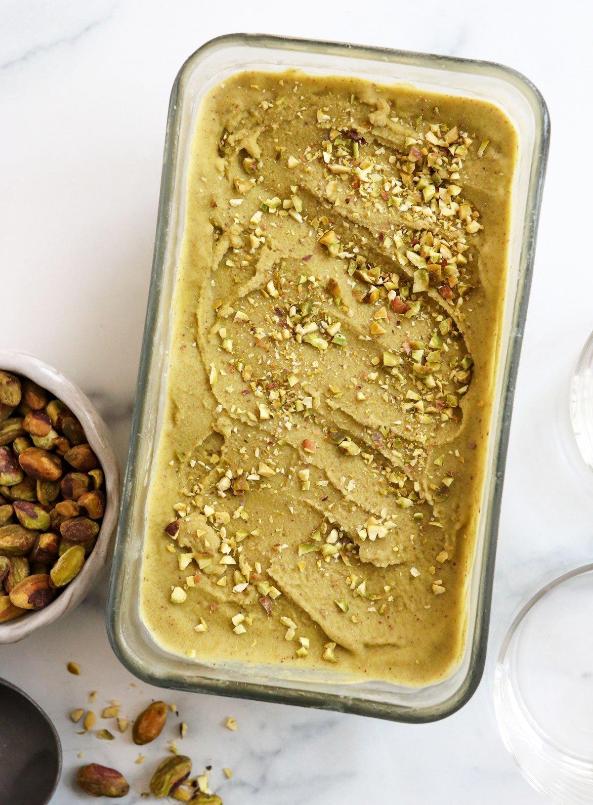 pistachio ice cream in loaf pan