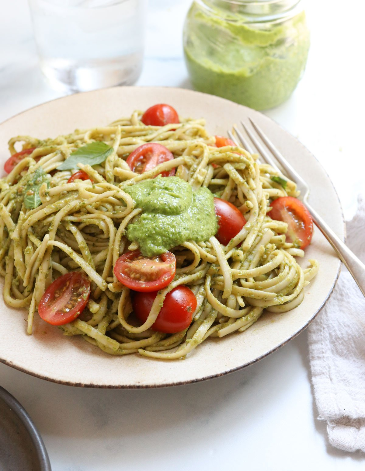 pasta with a dollop of pesto on top