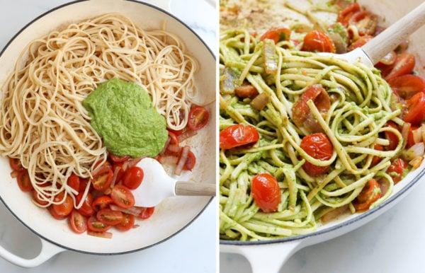 pesto and pasta added to skillet of veggies