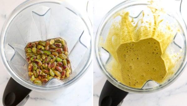 pistachio ingredients in blender