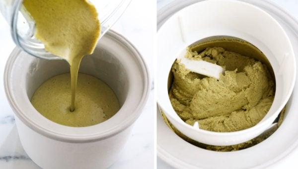 pistachio ice cream processed in machine