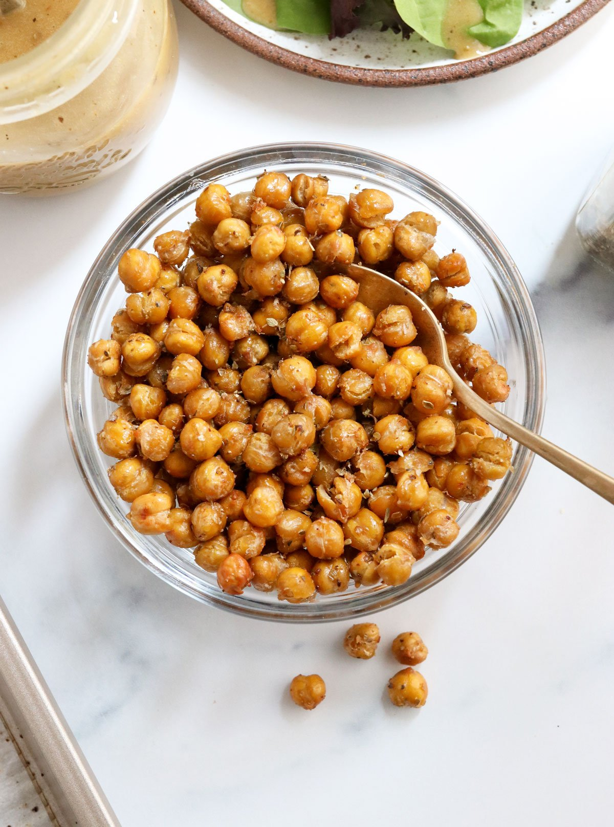 roasted chickpeas in bowl overhead