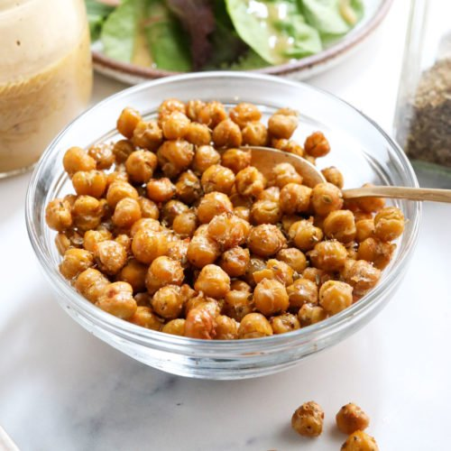 roasted chickpeas in a glass bowl