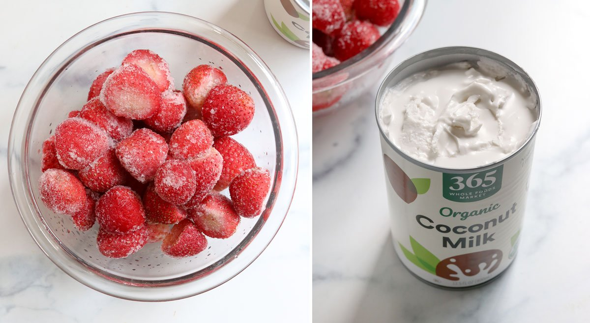frozen strawberries and can of coconut milk