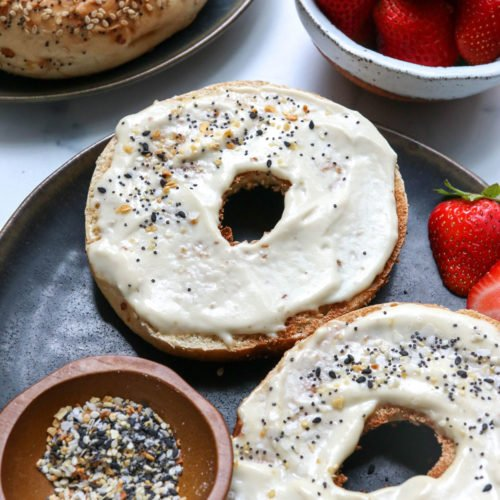 vegan cream cheese spread on a bagel