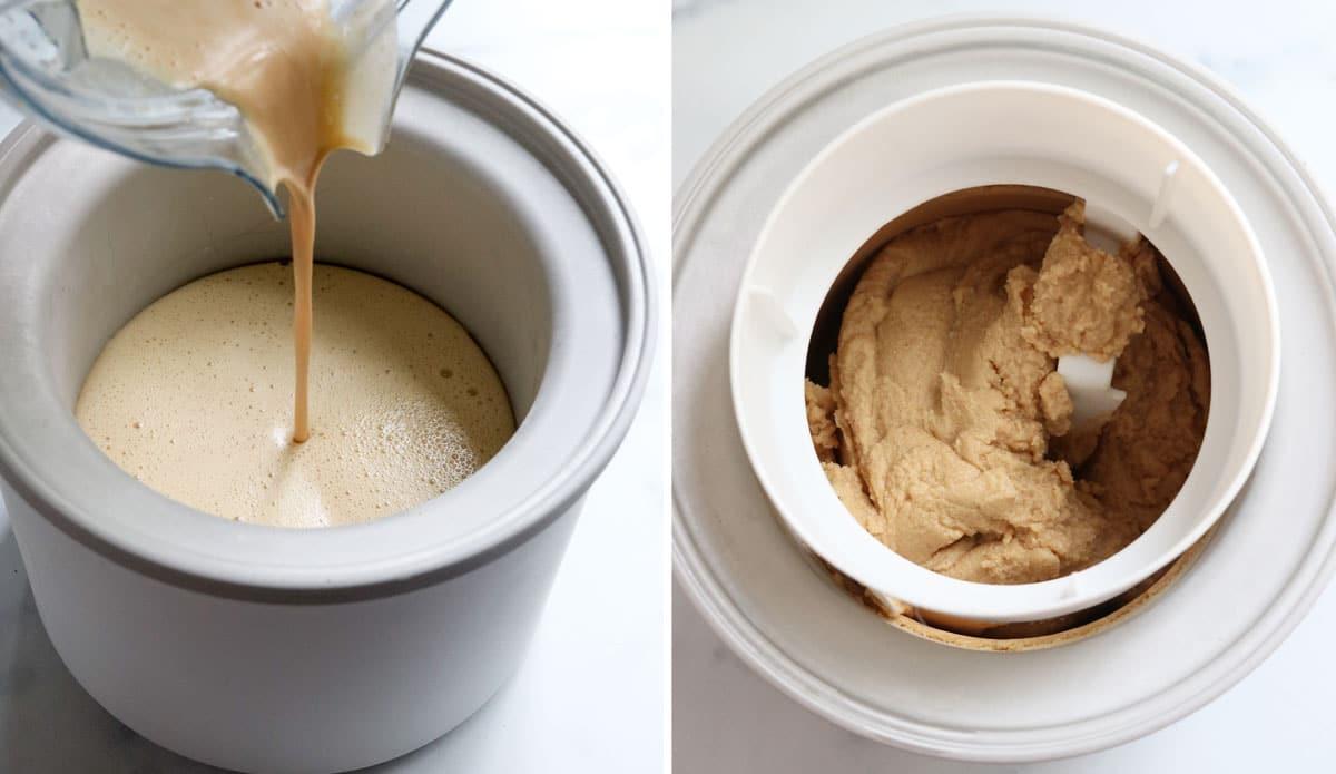 peanut butter ice cream in machine