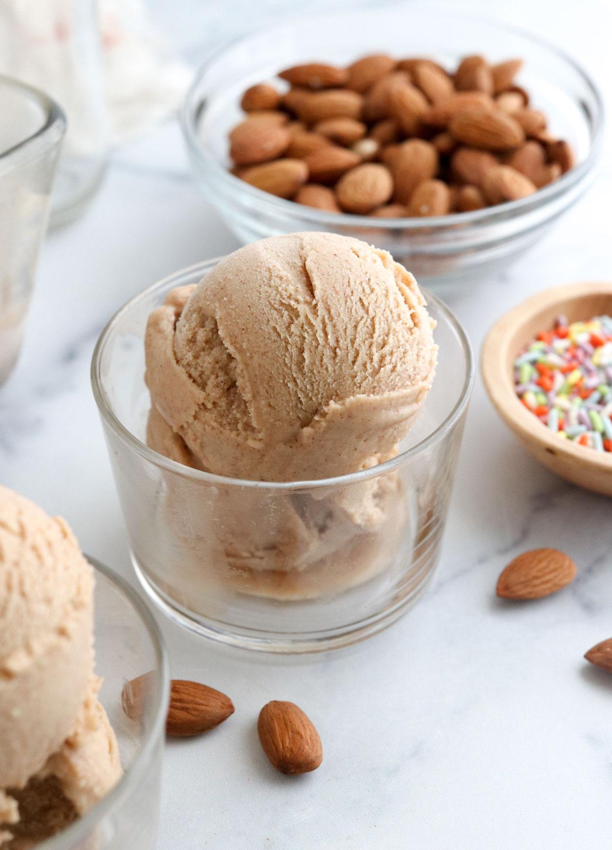 almond milk ice cream in glass dish