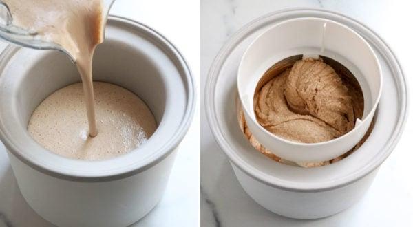 almond milk ice cream poured into ice cream maker