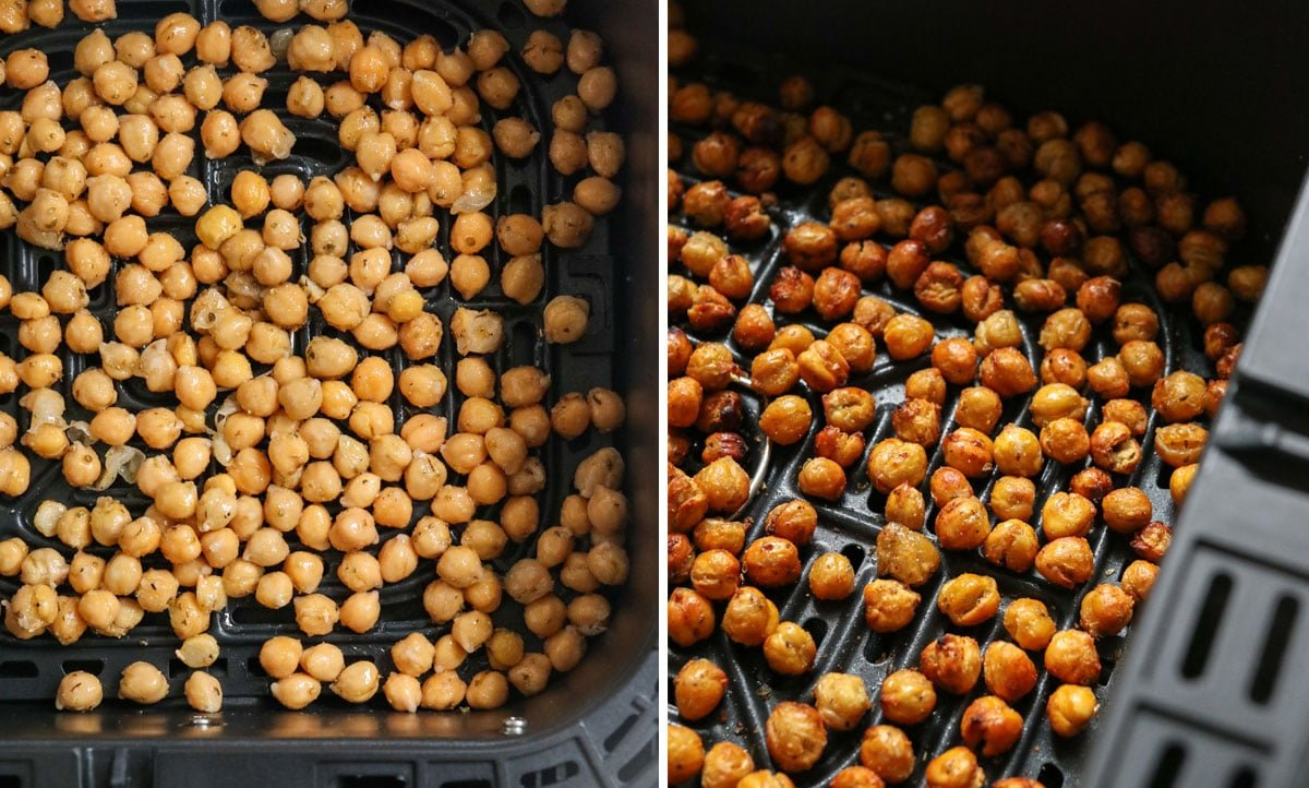 before and after chickpeas cooked in air fryer