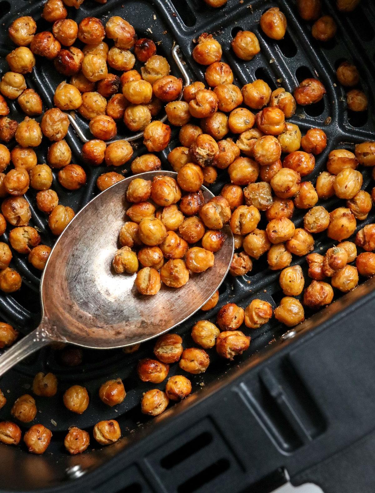 crispy chickpeas in air fryer basket