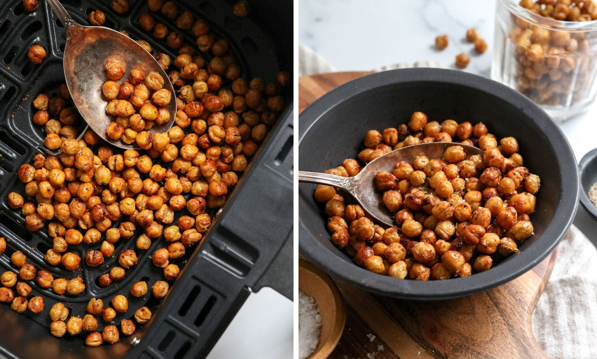 finished chickpeas on a spoon