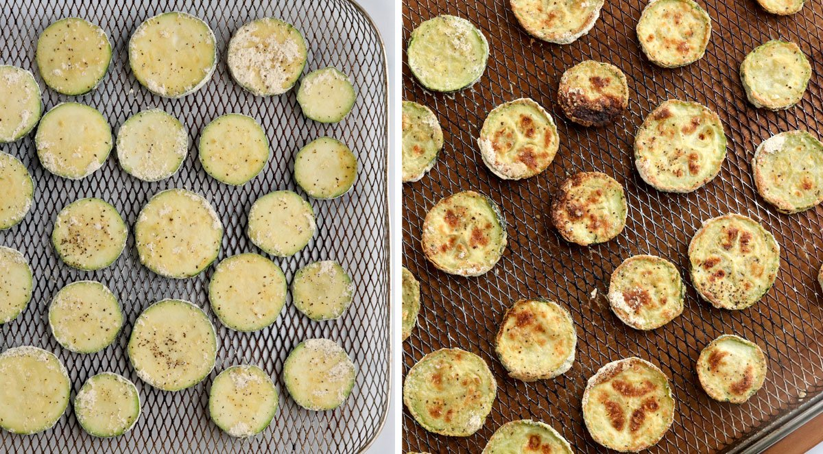 zucchini before and after cooking on air fryer tray