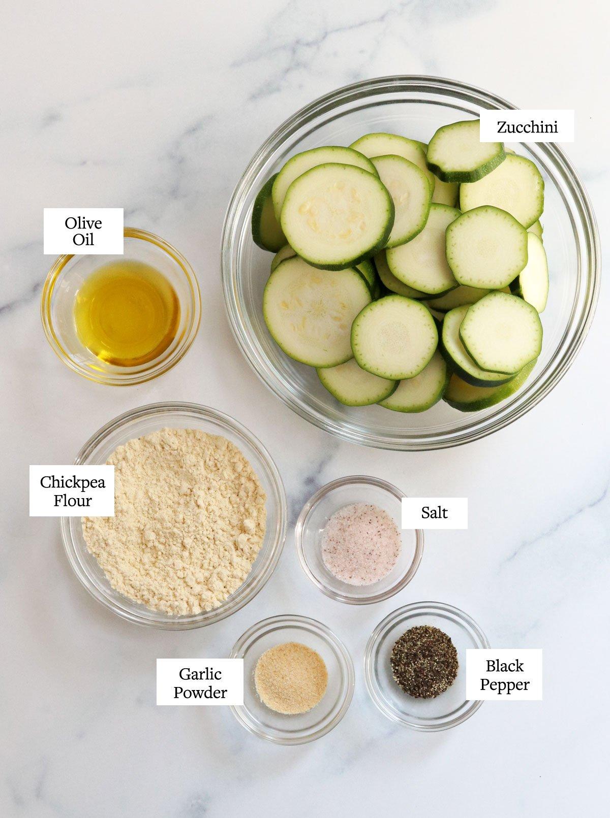 air fryer zucchini ingredients in glass bowls