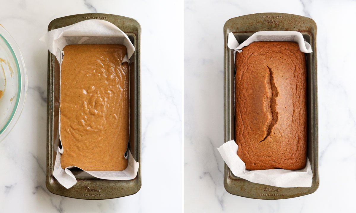 pumpkin bread baked in loaf pan