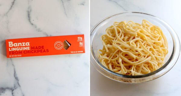 banza noodles in package and cooked