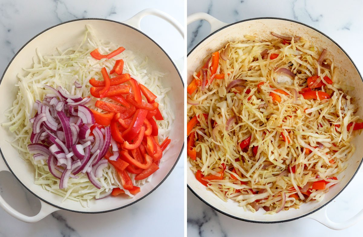 cabbage, red onion, and bell pepper sauteed in skillet