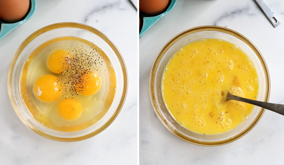 eggs seasoned with salt and pepper and beaten with fork