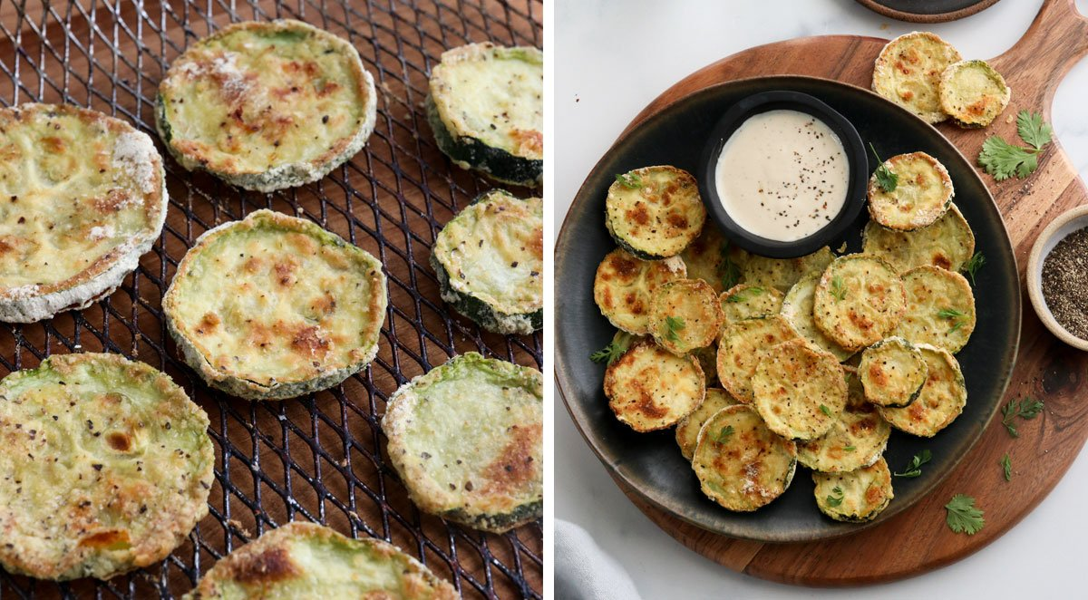 finished air fryer zucchini served on plate