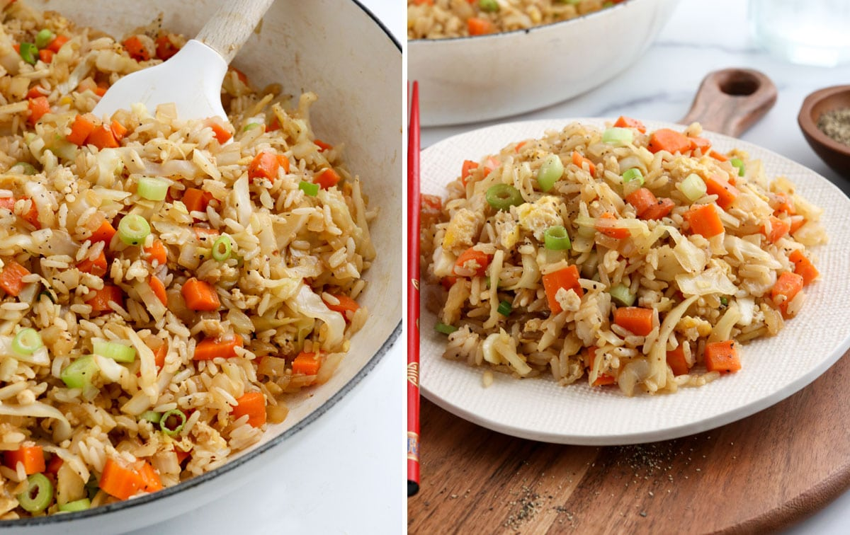 fried rice in pan and served on plate