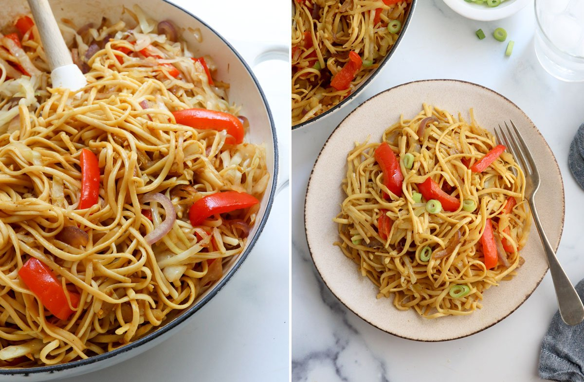 finished singapore noodles in skillet and on plate