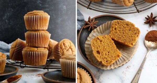 finished vegan pumpkin muffins cooled down