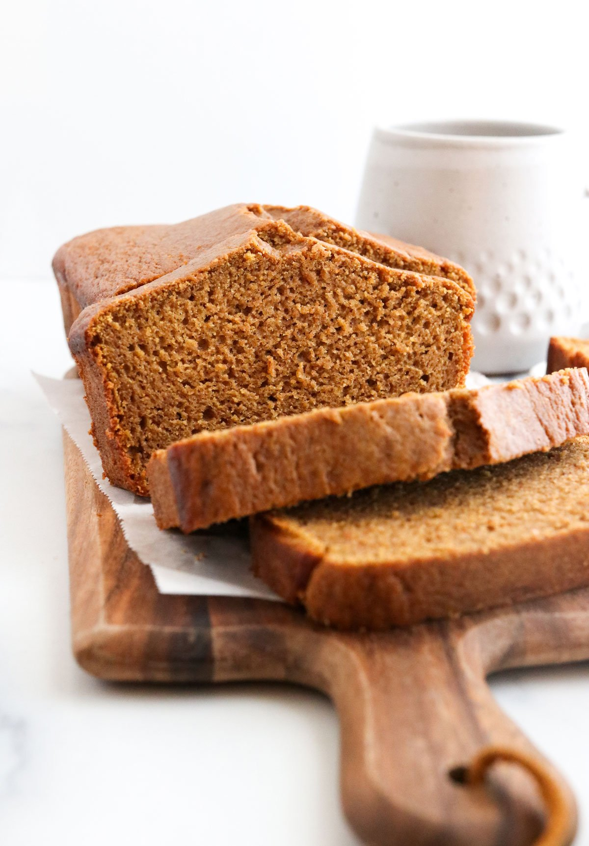 pumpkin bread sliced from the front