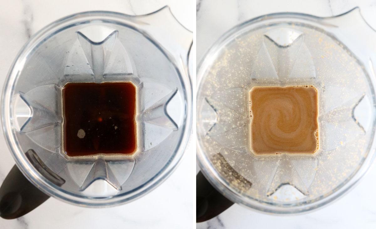 oat milk latte ingredients in blender