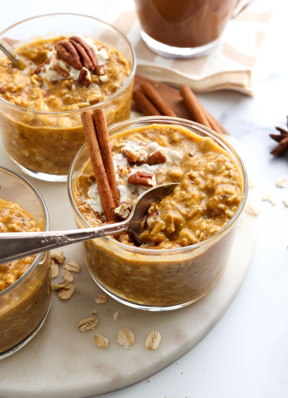 pumpkin overnight oats with spoon inside