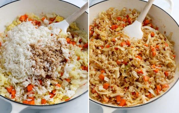 Rice added into the sauteed veggies