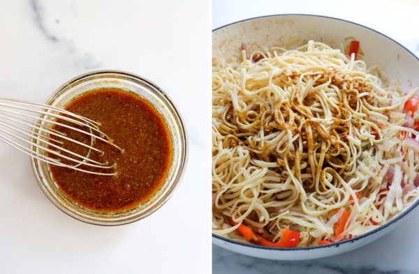 sauce mixed in bowl and added to skillet with noodles