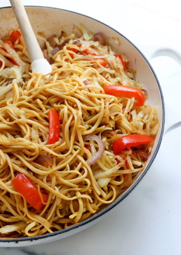 singapore noodles in white skillet