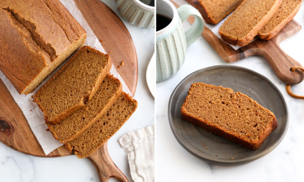 finished pumpkin bread sliced and served on plate