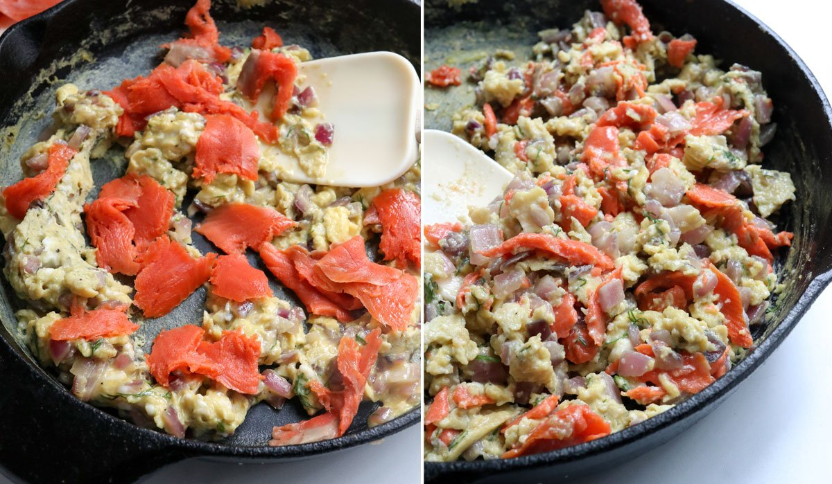 smoked salmon added to scrambled eggs