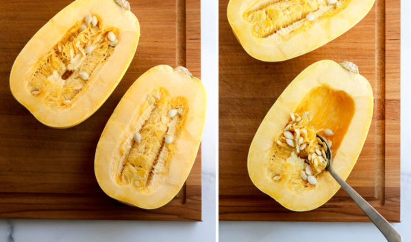spaghetti squash cut in half with seeds scooped out