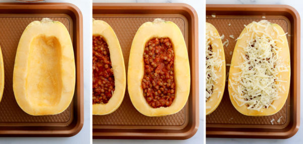 spaghetti squash stuffed with lentils and topped with cheese