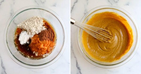 vegan pumpkin muffin batter mixed in bowl