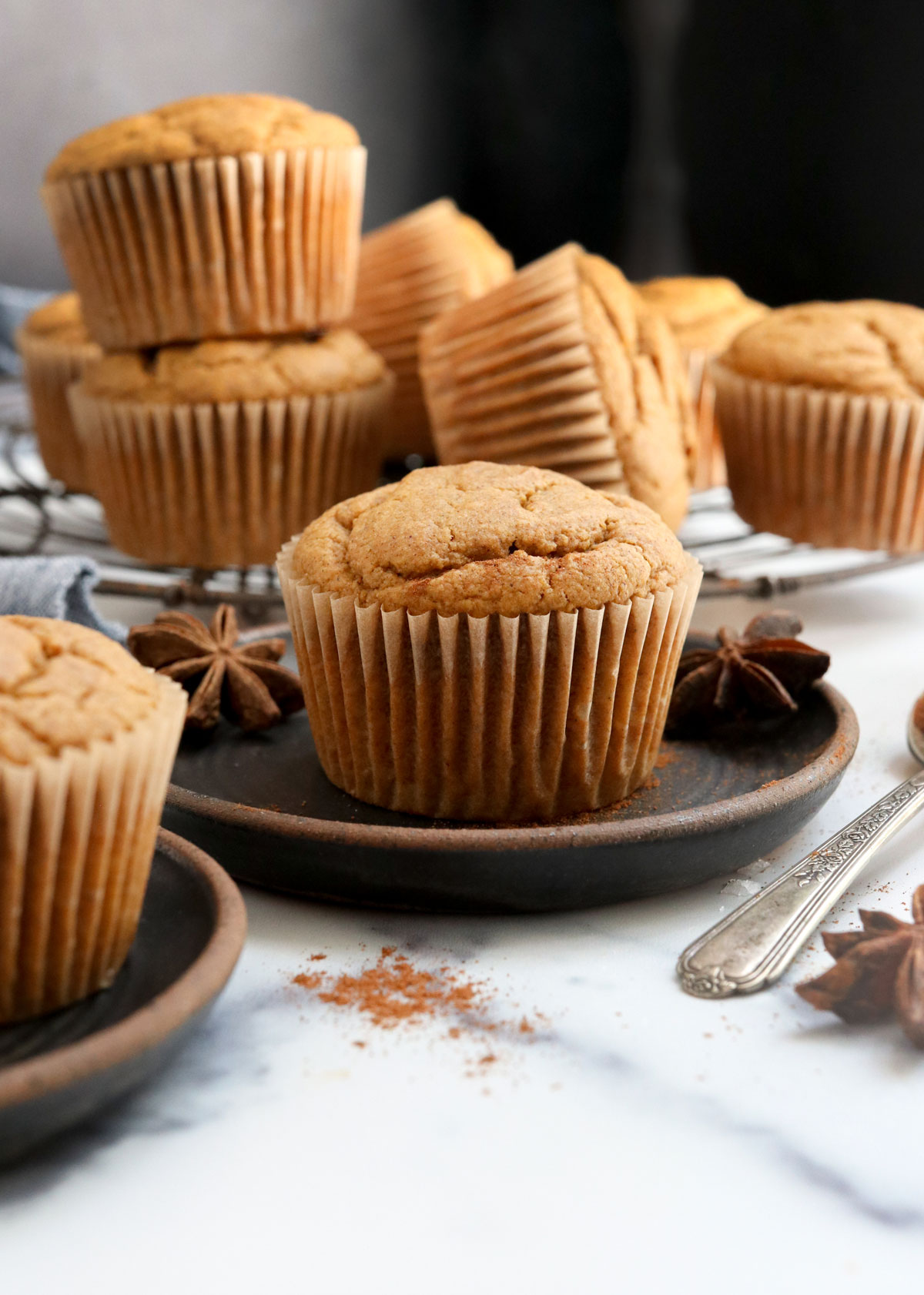 vegan pumpkin muffin on black plate