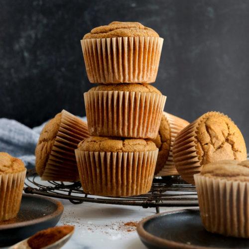 vegan pumpkin muffins stacked